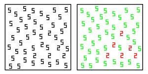 Теоретично, синестет швидше знайде цифру 6, якщо вона для нього іншого кольору. Зображення: Edward M. Hubbard, Image first appeared in Ramachandran and Hubbard, 2001 (CC BY-SA 3.0)