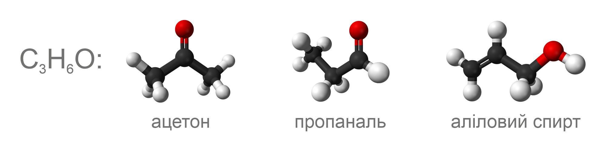 Ацетон, пропаналь та аліловий спирт є ізомерами, бо вони мають хімічну формулу C3H6O